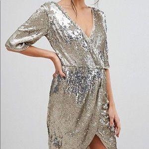NWT TFNC London Anna Sequin Silver Wrap Dress